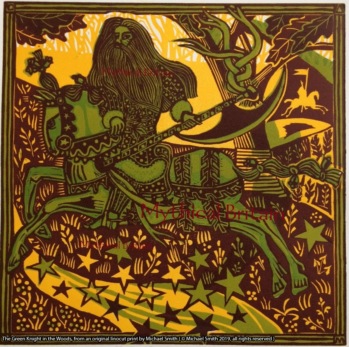 The Green Knight in the Woods, from an original linocut print by Michael Smith ( © Michael Smith 2019, all rights reserved )