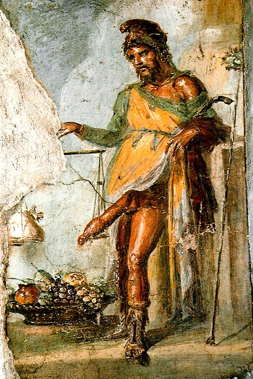 Priapus showing his role in a prosperous business by weighing his member against a bag of gold. Fer.filol, Source https://commons.wikimedia.org/w/index.php?curid=1351969
