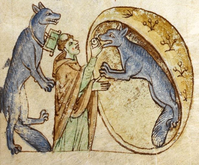 An illustration from Topographia Hiberniae depicting the story of a traveling priest who meets and communes a pair of good werewolves from the kingdom of Ossory.