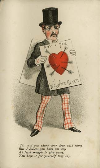 "A ""Vinegar Valentine"" card dated to the 1870s (""c. 1875""). Brighton Royal Pavilion and Museums ID 19110. [Public Domain] https://commons.wikimedia.org/wiki/File:Wounded_Heart_Vinegar_Valentine_1870s.jpg#/media/File:Wounded_Heart_Vinegar_Valentine_1870s.jpg"