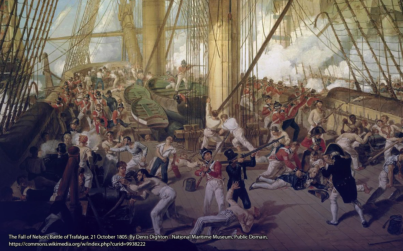 The Fall of Nelson, Battle of Trafalgar, 21 October 1805. By Denis Dighton - National Maritime Museum, Public Domain, https://commons.wikimedia.org/w/index.php?curid=9938222