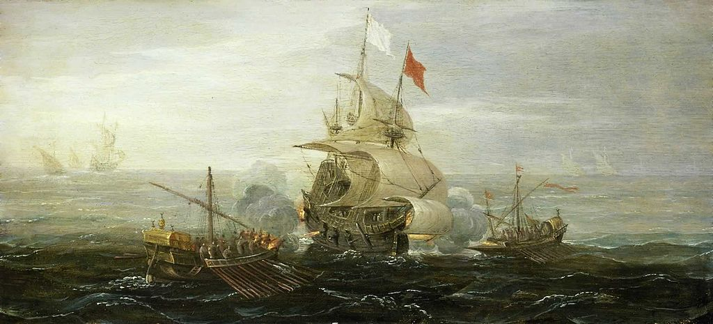A French Ship and Barbary Pirates (c 1615) by Aert Anthoniszoon https://commons.wikimedia.org/wiki/File:A_French_Ship_and_Barbary_Pirates_(c_1615)_by_Aert_Anthoniszoon.jpg