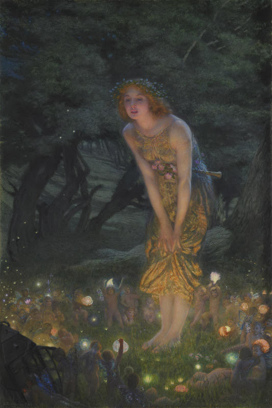 A fairy on Midsummer Eve by Edward Robert Hughes (1908) Source https://commons.wikimedia.org/w/index.php?curid=3688500