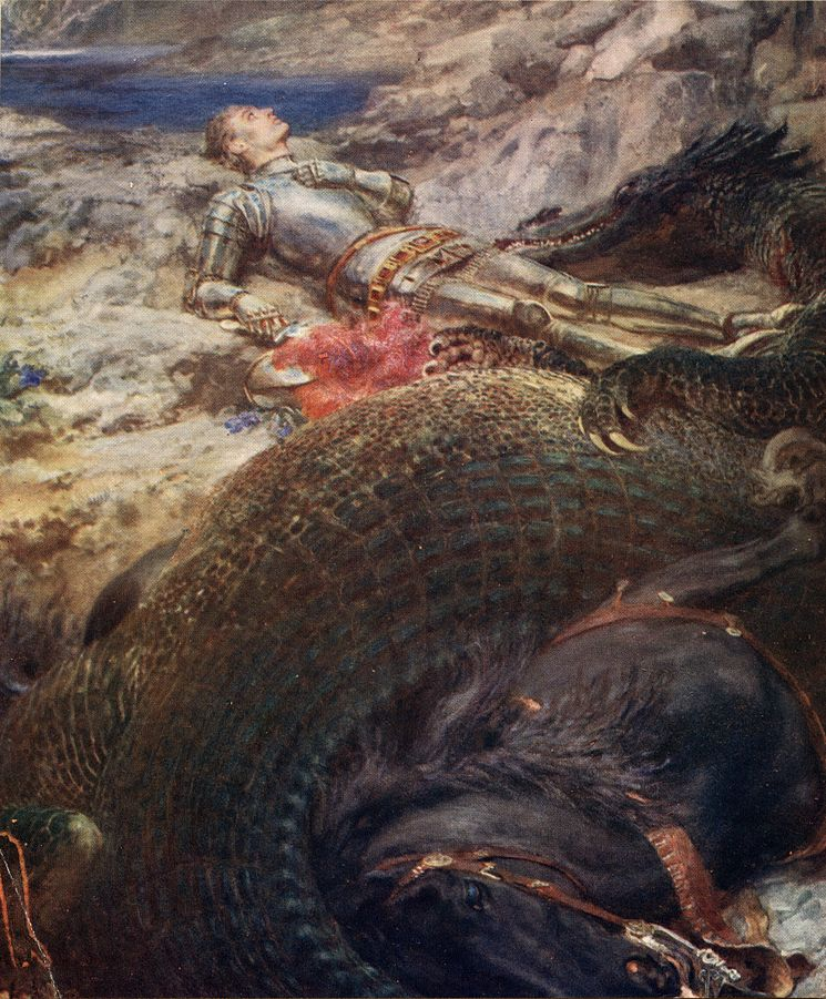 St. George and the Dragon by Briton Rivière - Daily Telegraph, King Albert's Book (London, 1914), page 56. Scanned by Dave Pape., Public Domain, https://commons.wikimedia.org/w/index.php?curid=2901957
