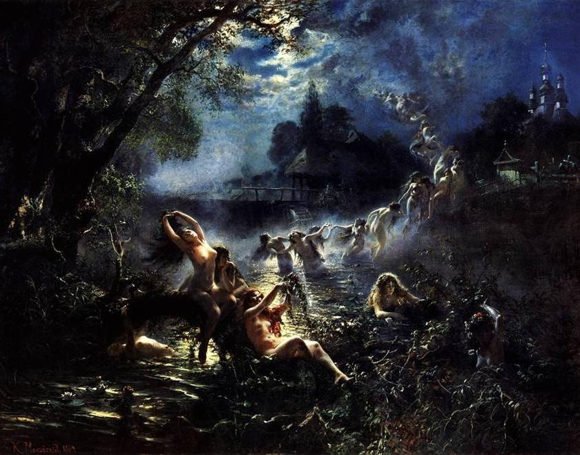 Rusałki frolicking under the moon. By Konstantin Makovsky Source - https://commons.m.wikimedia.org/wiki/File:Makovsky_mermaid.jpg
