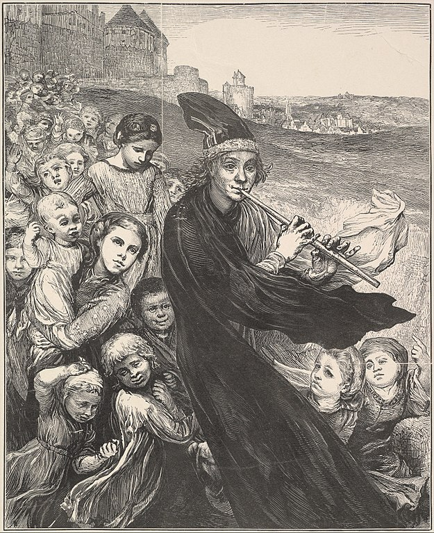 The Pied Piper of Hamelin, 1868 wood engraving by John LeFarge. Source https://commons.wikimedia.org/wiki/File:The_Pied_Piper_of_Hamelin_MET_DP821706.jpg
