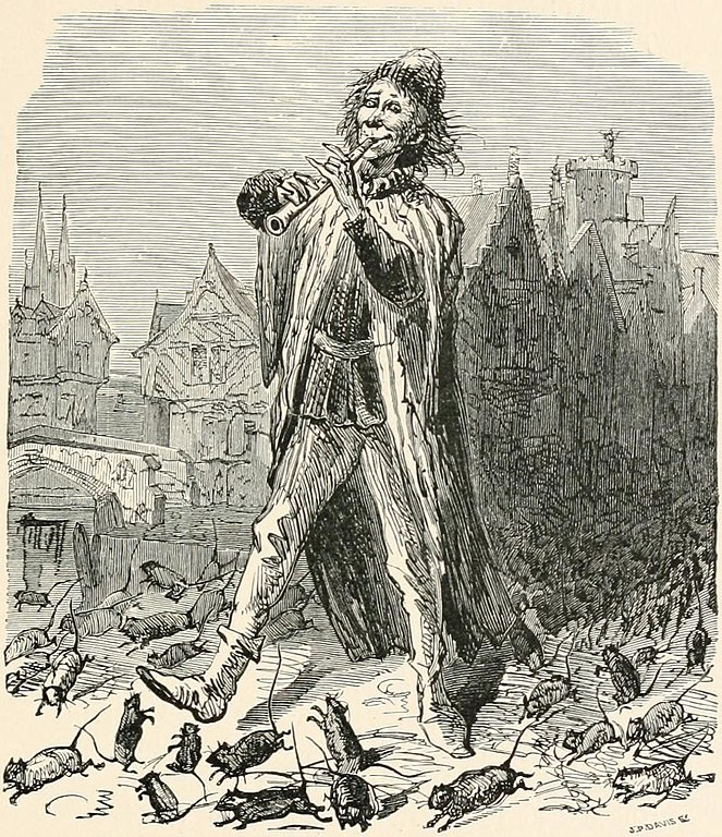 "Uncredited illustration for ""The Pied Piper of Hamelin,"" from Child Life: A Collection of Poems, ed. John Greenleaf Whittier, 1871. Public Domain https://commons.wikimedia.org/wiki/File:The_Pied_Piper_of_Hamelin_%E2%80%94_Child_Life.jpg#/media/File:The_Pied_Piper_of_Hamelin_%E2%80%94_Child_Life.jpg"