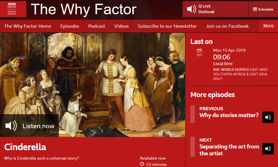 138296d84a @DeeDeeChainey talks about Cinderella on 'The Why Factor' for the BBC World  Service