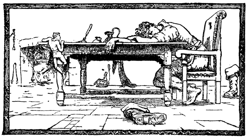 Jack in the giant's kitchen, from English Fairy Tales (Joseph Jacobs, 1890) Source https://commons.wikimedia.org/wiki/File:Page_59_illustration_in_English_Fairy_Tales.png