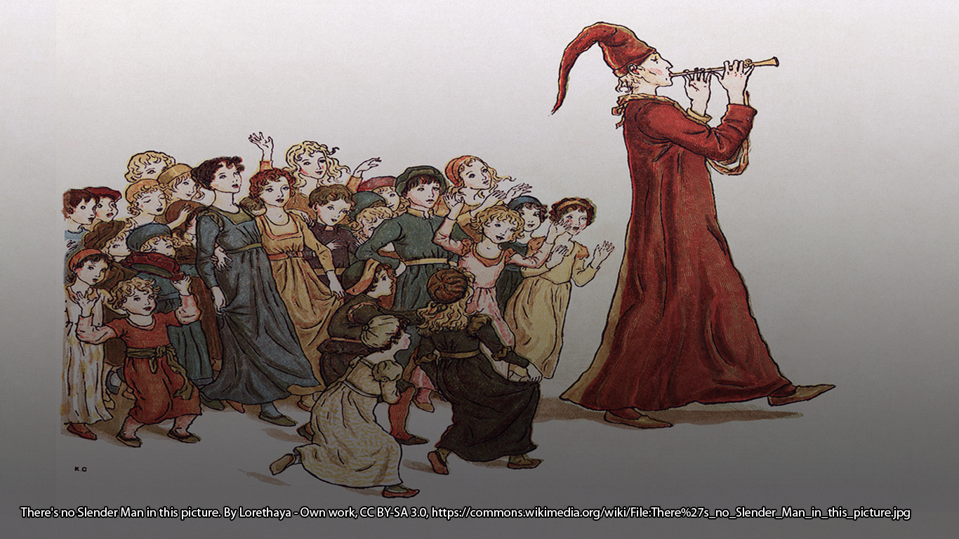 "Kate Greenaway's illustration for Robert Browning's 1888 poem, ""The Pied Piper of Hamelin."" https://commons.wikimedia.org/wiki/File:Pied_Piper2.jpg"