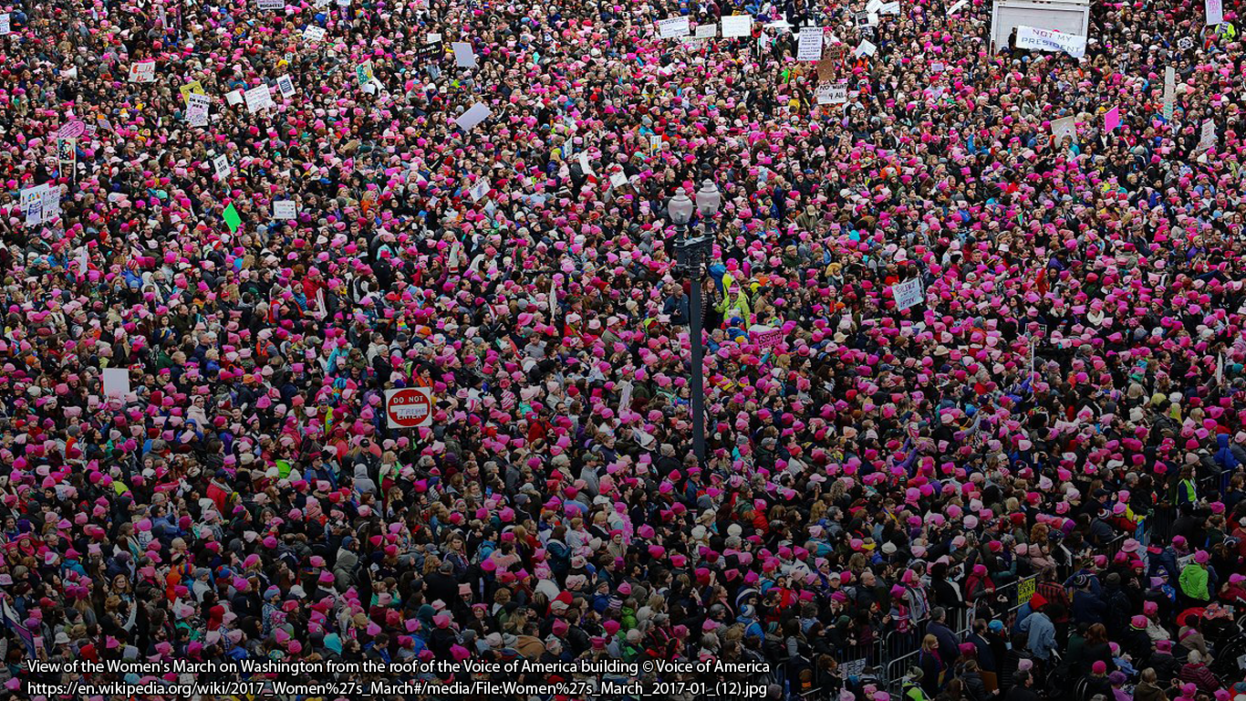 View of the Women's March on Washington from the roof of the Voice of America building © Voice of America https://en.wikipedia.org/wiki/2017_Women%27s_March#/media/File:Women%27s_March_2017-01_(12).jpg