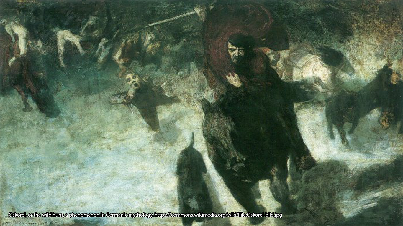 Oskorei, or the wild hunt, a phenomenon in Germanic mythology. https://commons.wikimedia.org/wiki/File:Oskorei-bild.jpg