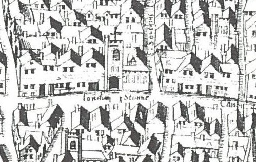 An old style map showing hand-drawn houses and streets. In the centre of the image is a drawing of a church. On the street area next to the church is a small rectangle and the words 'London Stonne'.