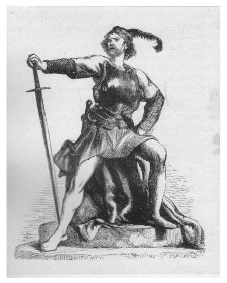 A drawing of a man in a lovely short dress and breastplate, posing on top of the London Stone. He has a feather in his cap, and is holding a long sword.