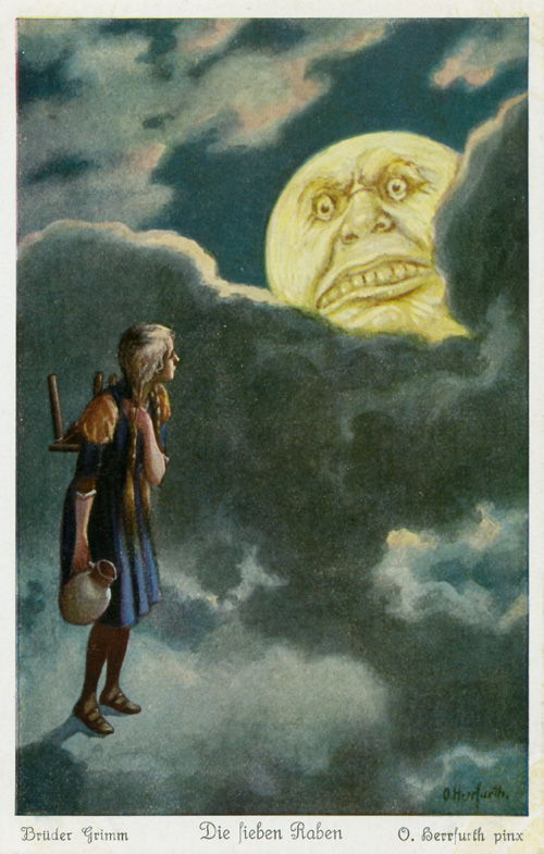 The moon desires the maiden's flesh. Oskar Herrfurth, Public Domain https://commons.wikimedia.org/w/index.php?curid=19221326