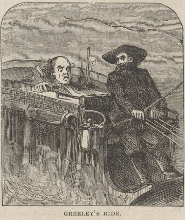 A lithograph from Mark Twain's 1872 book, Roughing It, provides a fanciful depiction of Greeley's famous ride. Twain exploited the narrative in print as he had on stage, but in the book, the punch line was a man who wanted to tell the tale but was told that he mustn't because everyone had heard it too often. The act of suppressing the urge to tell of Greeley and Monk caused the man to die – according to Twain, the master of American wit. Source https://upload.wikimedia.org/wikipedia/commons/6/6a/Roughing_It_-_151.jpg