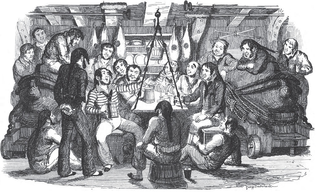 "Saturday Night at Sea, by Thomas Dibdin,from ""Songs, naval and national, of the late Charles Dibdin; with a memoir and addenda."" Public Domain https://commons.wikimedia.org/w/index.php?curid=7648354"