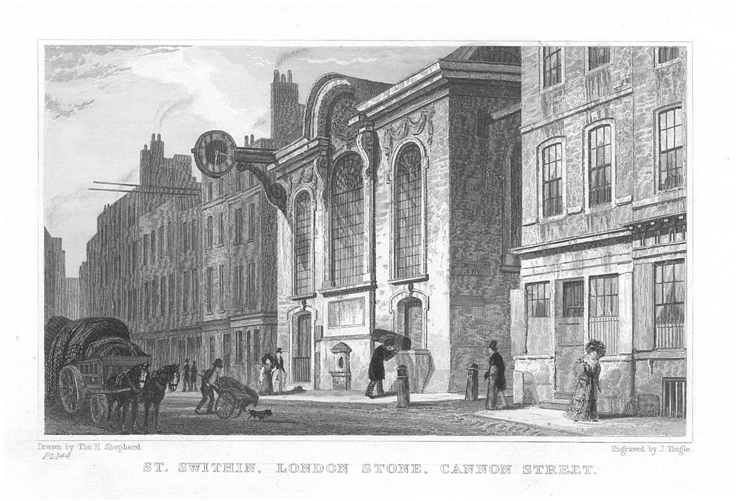 Church of St Swithin, London Stone, in Cannon Street, London. By artist: T. H. Shepherd; engraver: J. Tingle - original engraving, Public Domain, https://commons.wikimedia.org/w/index.php?curid=25706799