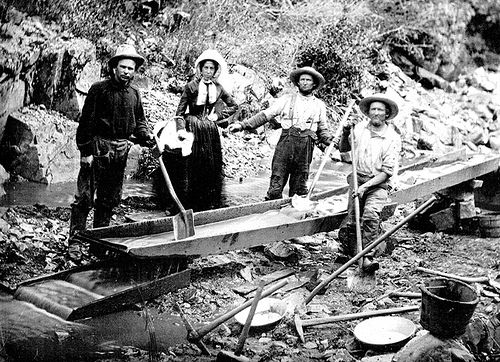 Placer miners of the California Gold Rush of 1849 employed many traditional technologies that were similar to those that Agricola described in the sixteenth century. Public Domain https://commons.wikimedia.org/w/index.php?curid=52272060