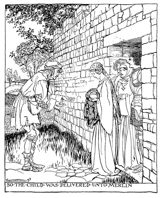 Child Arthur delivered to Merlin, b By Arthur Rackham. Public Domain https://commons.m.wikimedia.org/wiki/File:331_The_Romance_of_King_Arthur.jpg