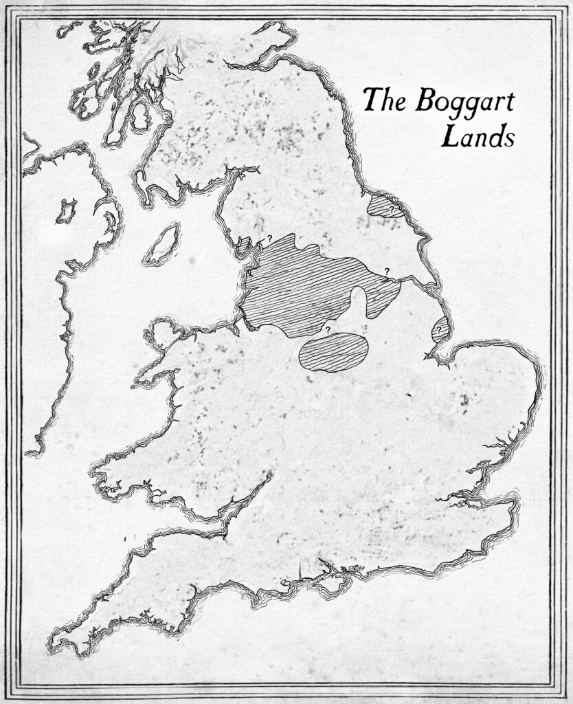 A map of the UK, labelled as The Boggart Lands. Areas in the centre of the map are highlighted.