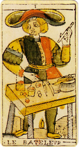 An original card from the tarot deck of Jean Dodal of Lyon, a classic Tarot of Marseilles deck which dates from 1701-1715. Source https://en.wikipedia.org/wiki/File:Jean_Dodal_Tarot_trump_01.jpg