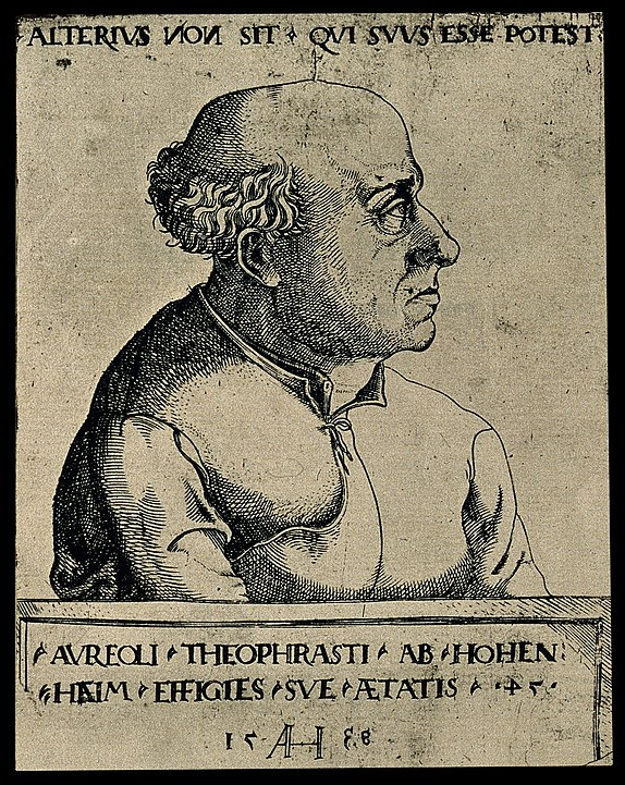 etching of side profile of Paracelsus