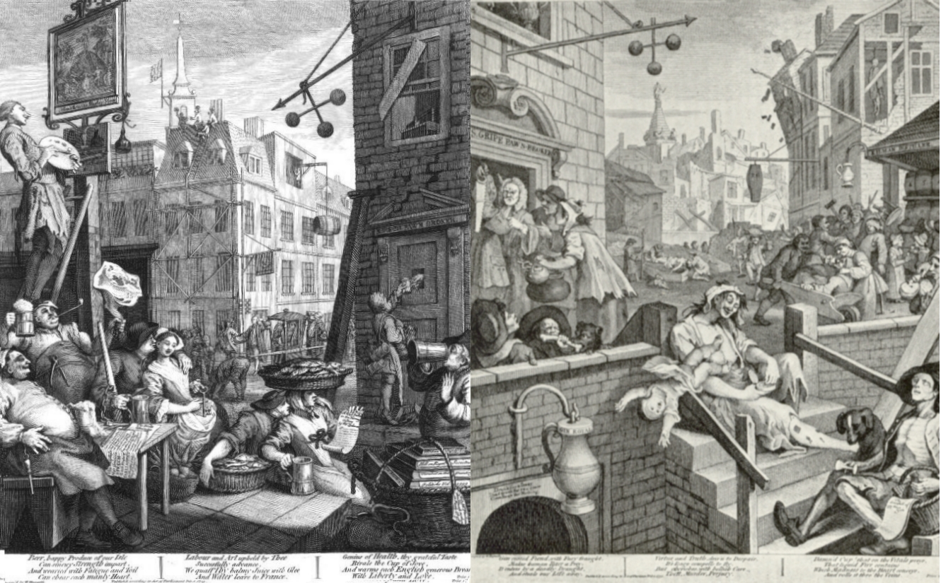 Combined image of Beer Street and Gin Lane. By William Hogarth - BeerStreet.jpg and GinLane.jpg, Public Domain, https://commons.wikimedia.org/w/index.php?curid=3516658.