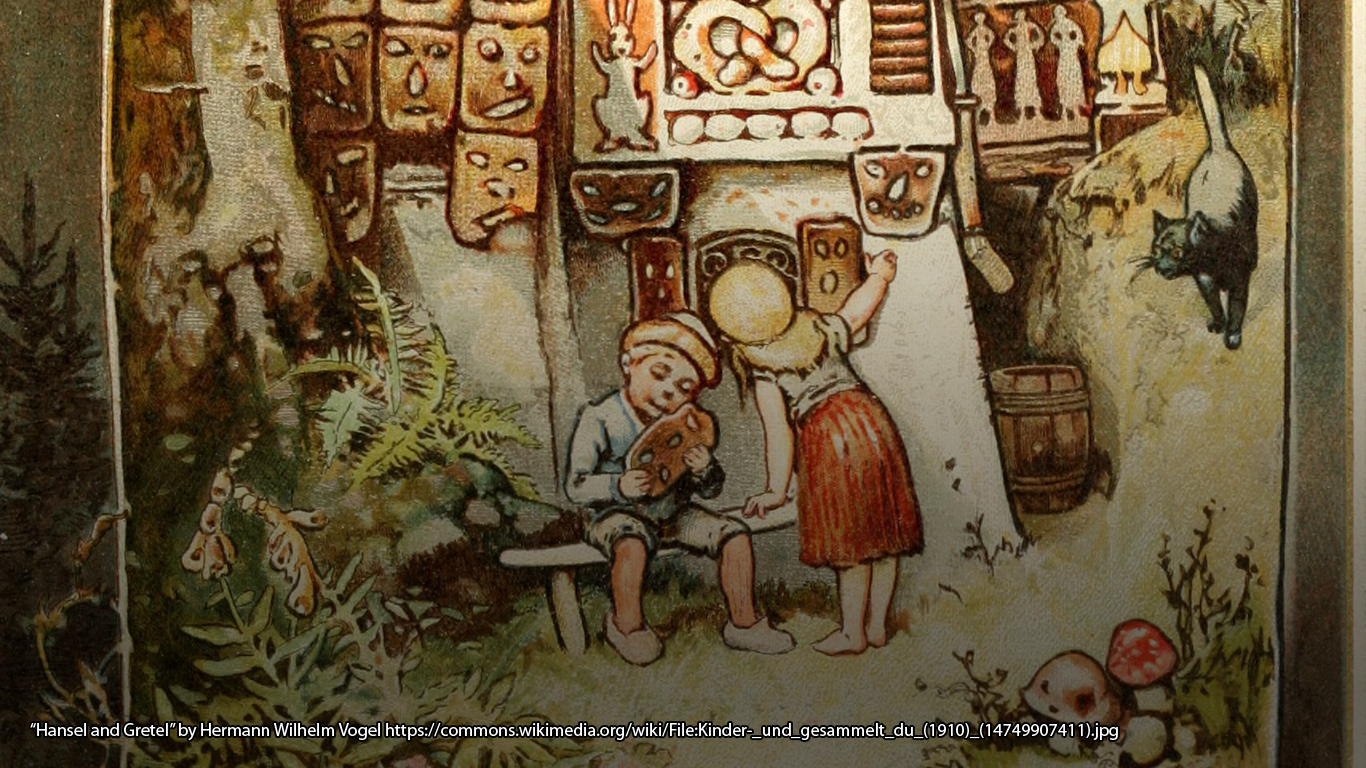 """Hansel and Gretel"" by Hermann Wilhelm Vogel https://commons.wikimedia.org/wiki/File:Kinder-_und_gesammelt_du_(1910)_(14749907411).jpg"