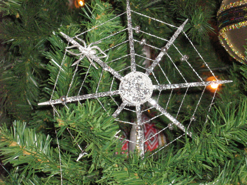 Spider ornament on a Christmas tree
