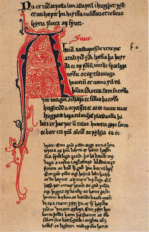A page from a manuscript of Konungs skuggsjá, ca. 1250. Public Domain https://commons.wikimedia.org/w/index.php?curid=2984317
