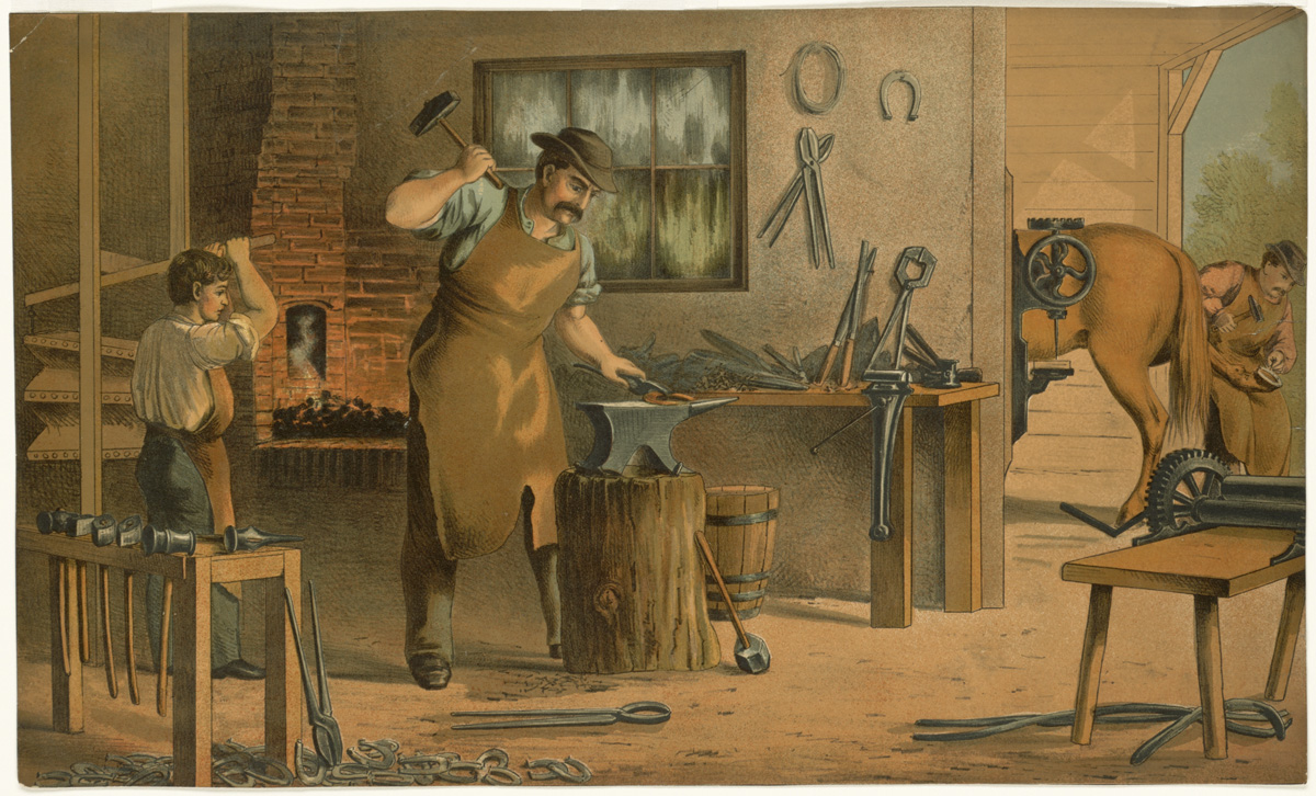 A blacksmith instructing his apprentice. By L. Prang & Co. (publisher) - Flickr: Aids to Object Teaching. Blacksmith, Public Domain, https://commons.wikimedia.org/w/index.php?curid=15991469