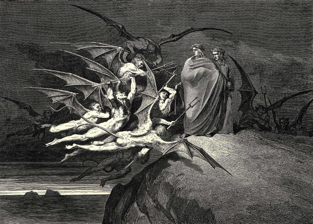 Devils confronting Dante and Virgil, Gustave Doré Public Domain https://commons.wikimedia.org/w/index.php?curid=93481
