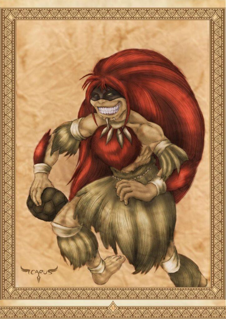 Curupira, bestiario do folclore nacional, by Icaro Augusto Maciel (elchavoman). See his DeviantArt here. https://www.deviantart.com/elchavoman/art/Curupira-Bestiario-do-Folclore-Nacional-662299925