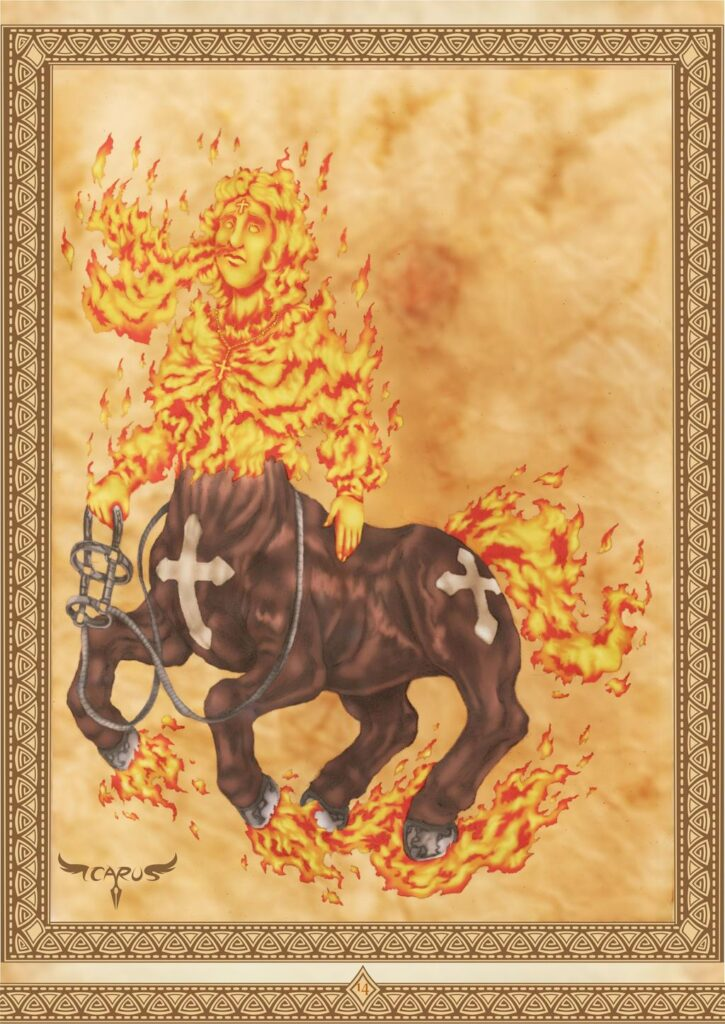 Mula Sem Cabeca, bestiario do folclore nacional, by Ícaro Augusto Maciel (elchavoman). See his DeviantArt here. https://www.deviantart.com/elchavoman/art/Mula-Sem-Cabeca-Bestiario-do-Folclore-Nacional-696118939