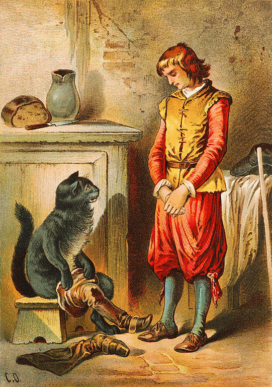 Puss gets his boots. By Carl Offterdinger https://commons.wikimedia.org/wiki/File:Offterdinger_Der_gestiefelte_Kater_(1).jpg