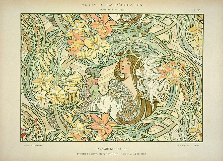 'Language of Flowers' by Alphonse Mucha, Public Domain https://commons.wikimedia.org/w/index.php?curid=44991168