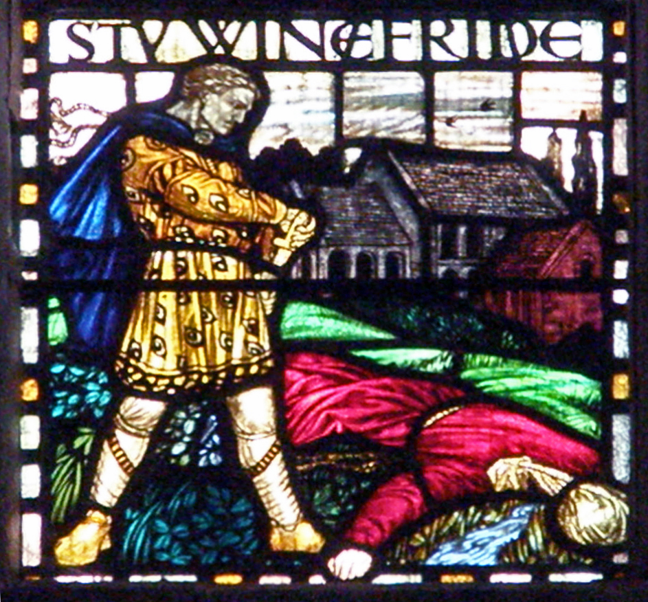 Stained glass window depicting St Winefride from Shrewsbury Cathedral, 1910. By Amanda Slater, CC BY-SA 2.0 https://commons.wikimedia.org/w/index.php?curid=64158518
