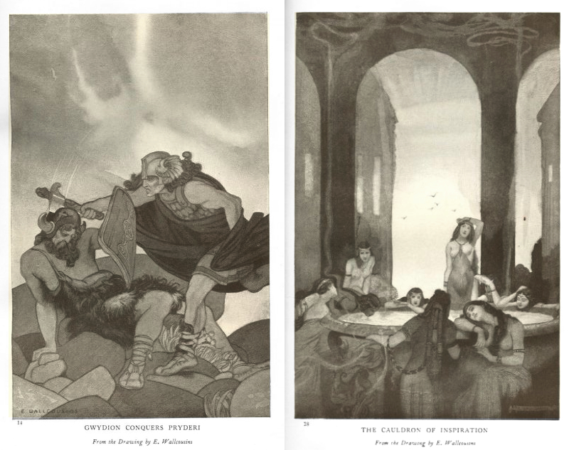 Gwydion Conquers Pryderi and The Cauldron of Inspiration, two, 1912, illustrations by Ernest Wallcousins. Public Domain https://commons.wikimedia.org/wiki/File:Gwydion_Conquers_Pryderi.jpeg https://commons.wikimedia.org/wiki/File:E._Wallcousins_-_The_Cauldron_of_Inspiration.jpg