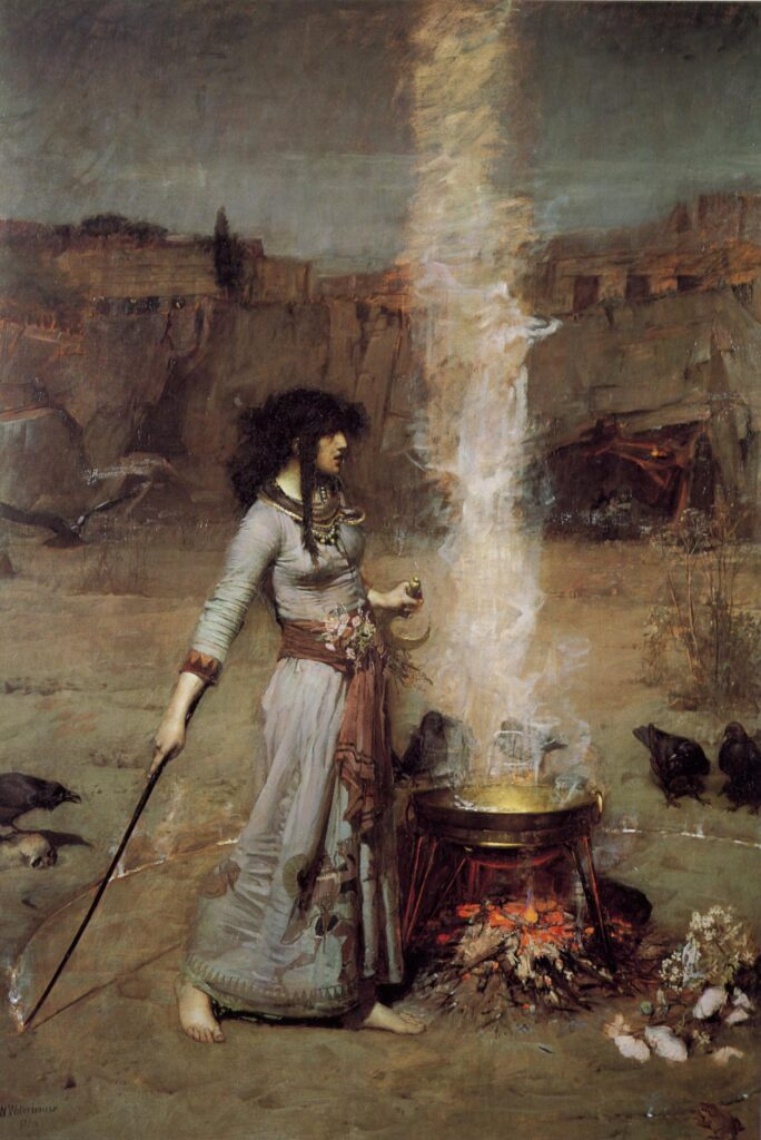 'The Magic Circle' (1886) John William Waterhouse's famous visualisation of a Celtic Sorceress. Public Domain https://commons.wikimedia.org/wiki/File:John_William_Waterhouse_-_Magic_Circle.JPG
