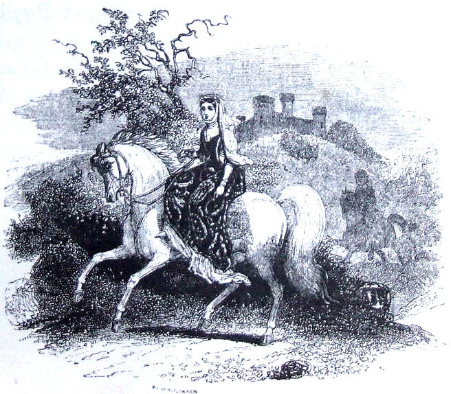 The Fair Rhiannon, riding her brilliant white mare, is pursued by Pwyll. From 'The Mabinogion' translated by Lady Charlotte Guest, 1877. Public Domain https://commons.wikimedia.org/wiki/File:Charlotte_Guest_Rhiannon.jpg