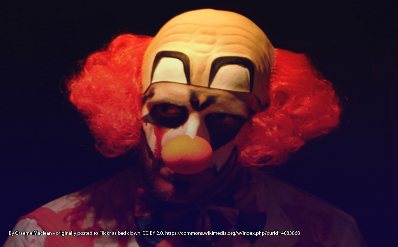 Scary clown. By Graeme Maclean - originally posted to Flickr as bad clown, CC BY 2.0, https://commons.wikimedia.org/w/index.php?curid=4083868