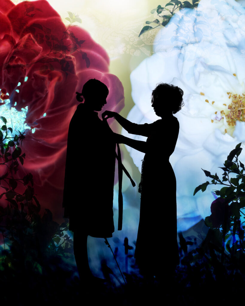 Silhouette of two women in front of one red rose, one white rose. From 'Snow-White & Rose-Red & Other Tales of Kind Young Women'. Retold by Kate Forsyth. Illustrated by Lorena Carrington.