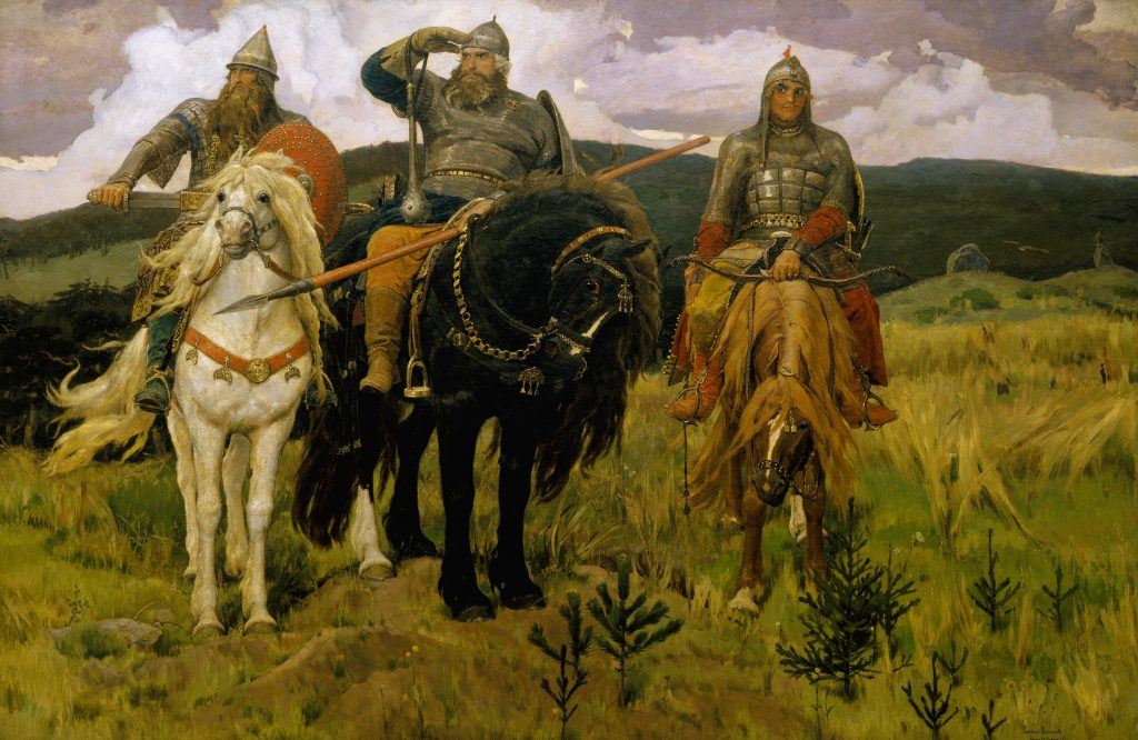 Men on horses. Bogatyrs and their Horses of Power. Victor Vasnetsov https://commons.wikimedia.org/wiki/File:Viktor_Vasnetsov_-_%D0%91%D0%BE%D0%B3%D0%B0%D1%82%D1%8B%D1%80%D0%B8_-_Google_Art_Project.jpg