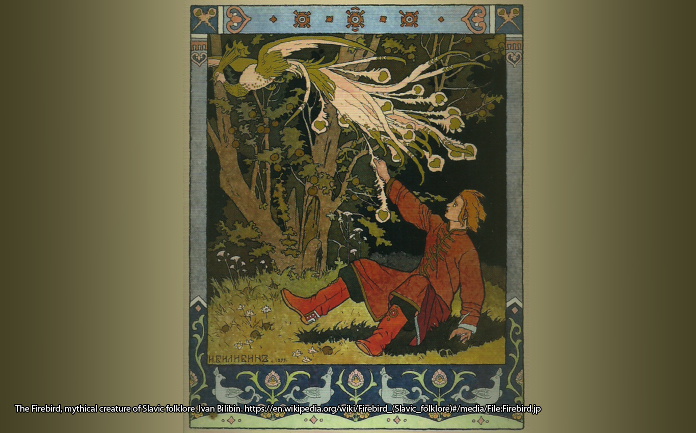 The Firebird, mythical creature of Slavic folklore. Ivan Bilibin. https://en.wikipedia.org/wiki/Firebird_(Slavic_folklore)#/media/File:Firebird.jp
