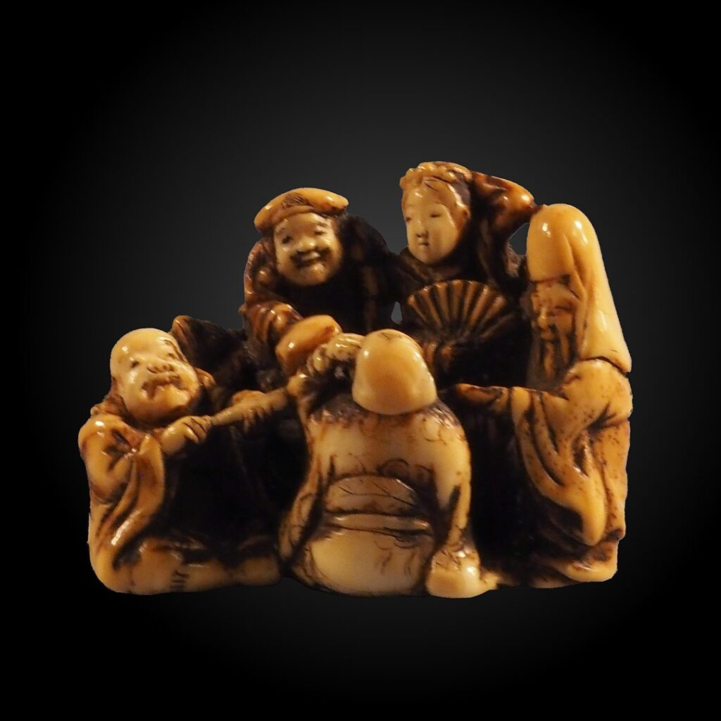 The Seven Japanese gods of good fortune depicted as netsuke. By Minzan, CC BY-SA 3.0 https://commons.wikimedia.org/w/index.php?curid=60188618