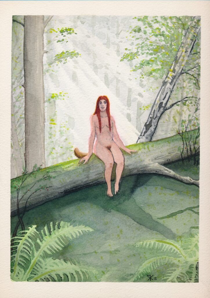 Skogsrå sitting on a fallen tree. Illustration by Robin Kuusela.