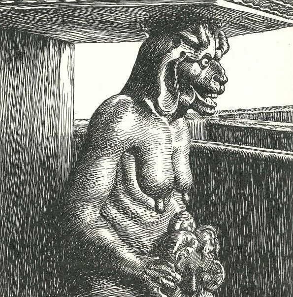Slattenlangpatte or Gjøemor, a demonic version of a forest spirit from Danish folklore, drawing based on a sculpture at a pulpit at Vejlø church, Southern Zealand. Illustration by Kr. Kongstad.