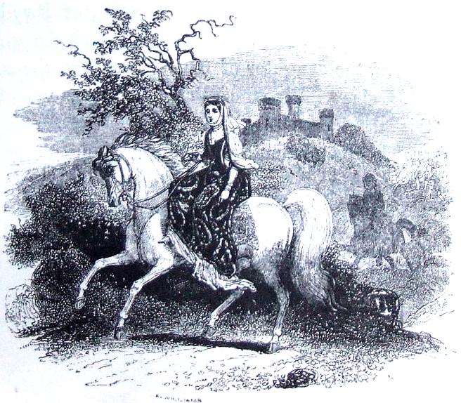 Rhiannon on horseback. Public Domain, https://commons.wikimedia.org/w/index.php?curid=22087367