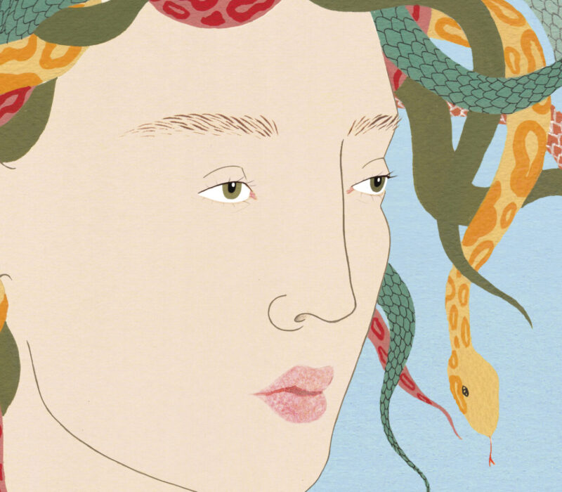 Medusa close up. Warriors, Witches, Women: Mythology's Fiercest Females is a new book by Kate Hodges, illustrated by Harriet Lee-Merrion, and published by White Lion Publishing.